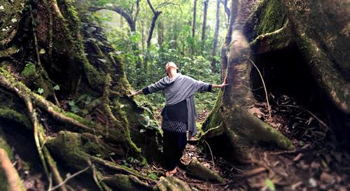森に立つ女性
